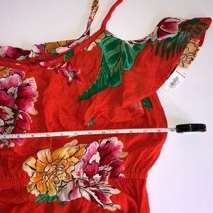 Old Navy Dresses - Orange•flower printed cold shoulder dress NWT